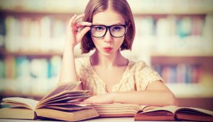 girl learning with glasses on